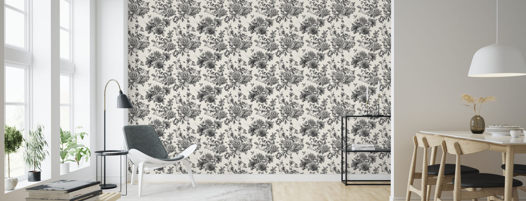 Twilight Roses Pattern - Wallpaper - Living Room