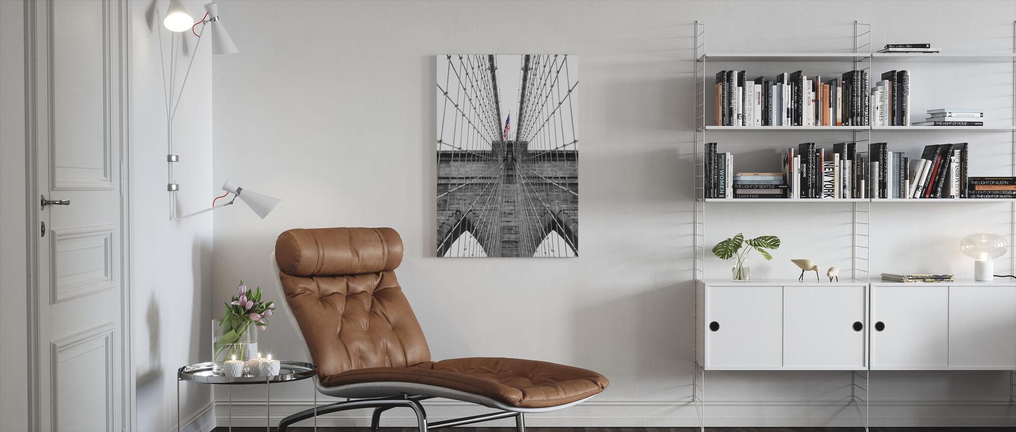 Brooklyn Bridge Amerikaanse vlag 2 - Canvas print - Woonkamer