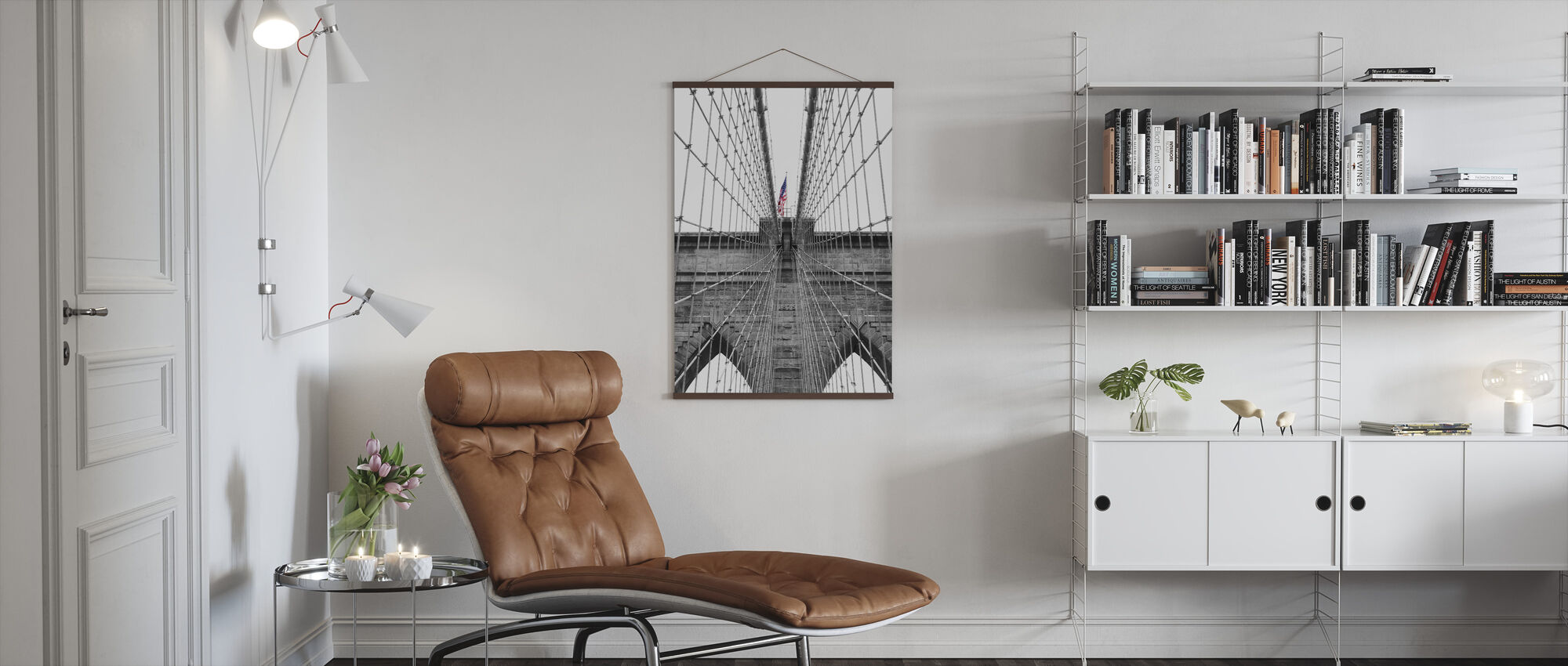 Brooklyn Bridge American Flag 2 - Poster - Living Room