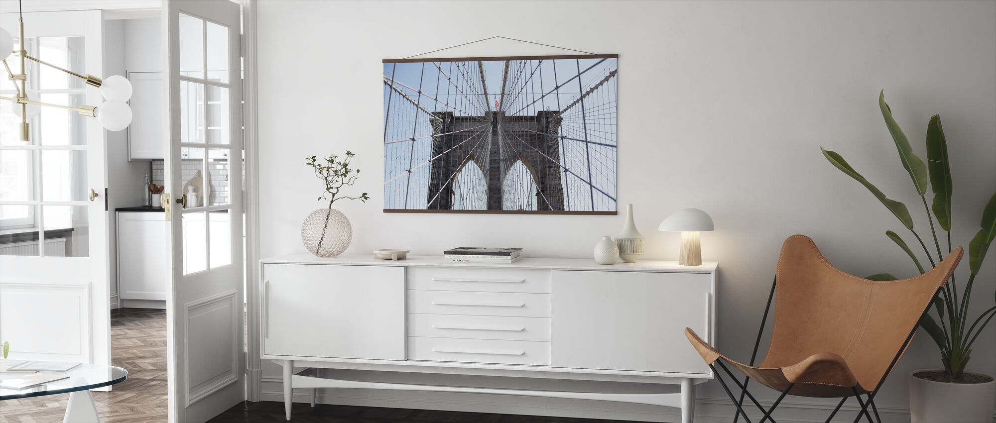 Brooklyn Bridge American Flag - Poster - Living Room
