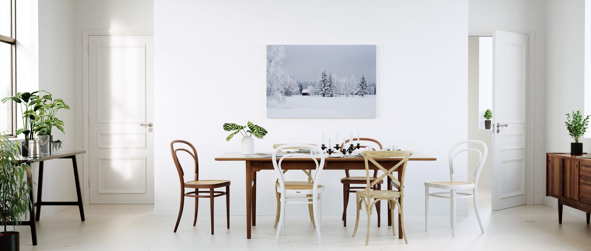 Snötäckt ladugård, Sverige - Canvastavla - Kök