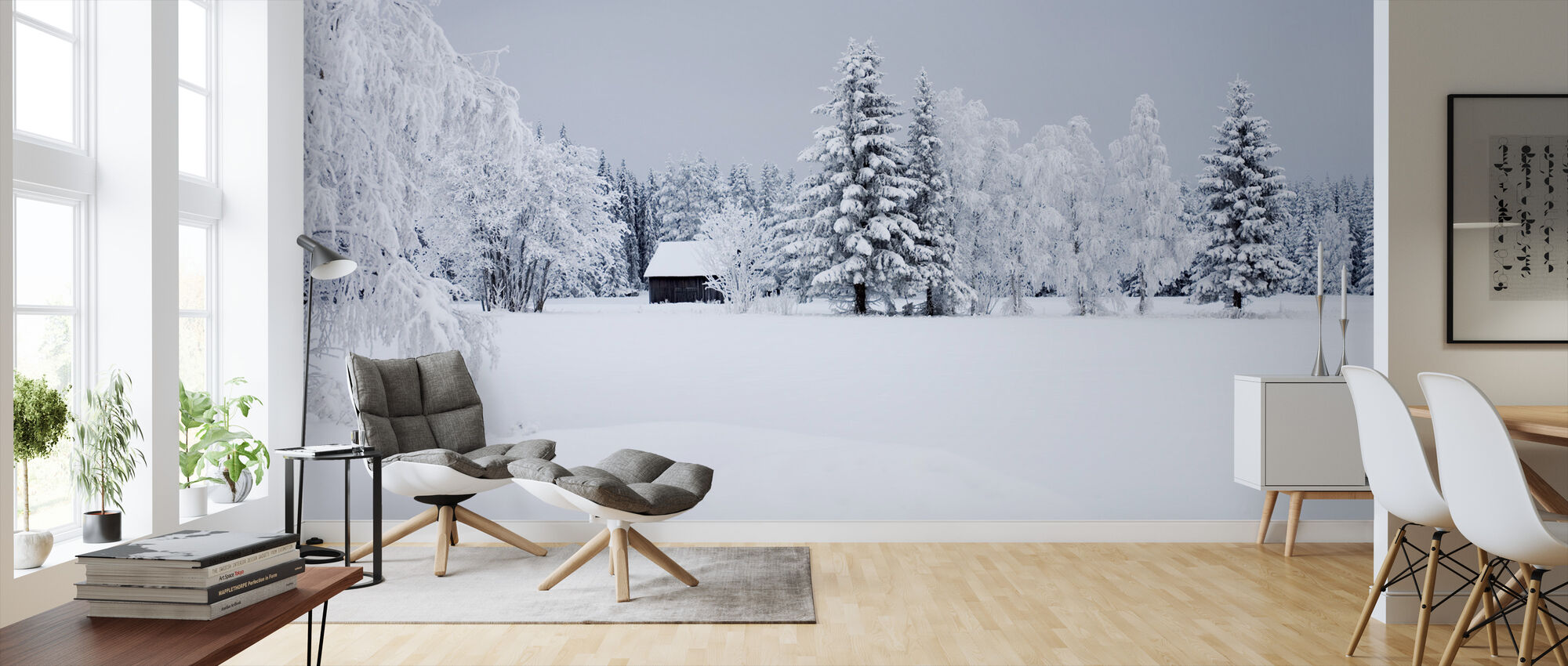 Snow Covered Barn House, Sweden - Wallpaper - Living Room