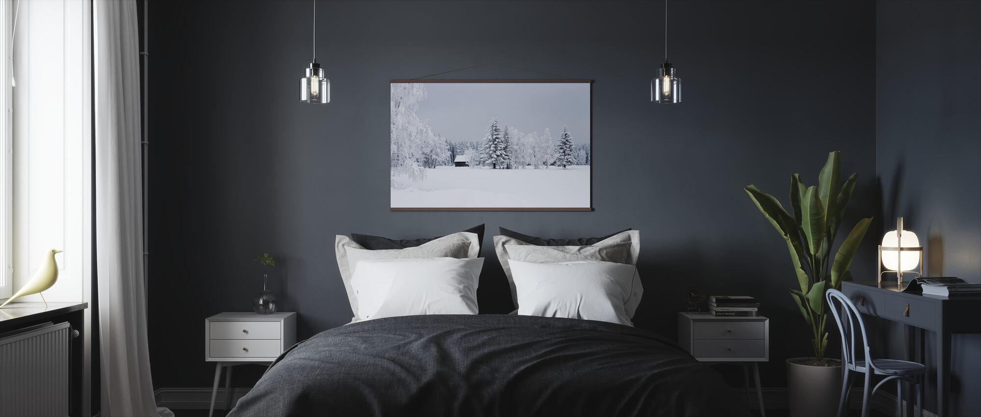 Snow Covered Barn House, Sweden - Poster - Bedroom