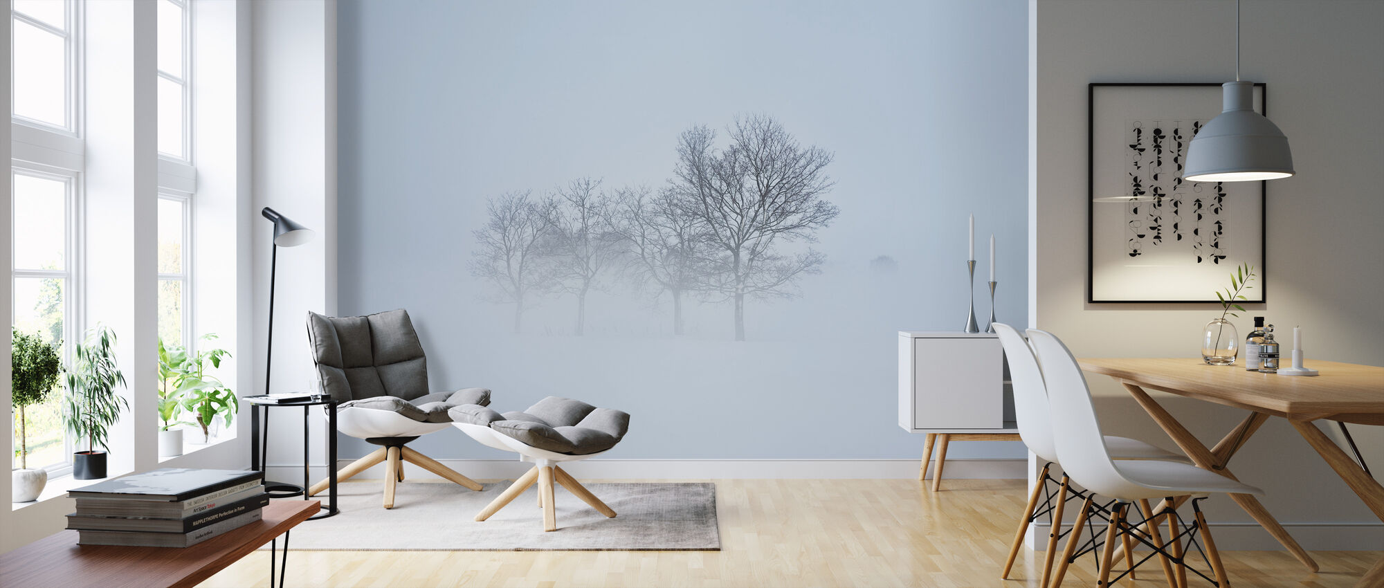 Stockholm Field hiding in Fog, Sweden - Wallpaper - Living Room