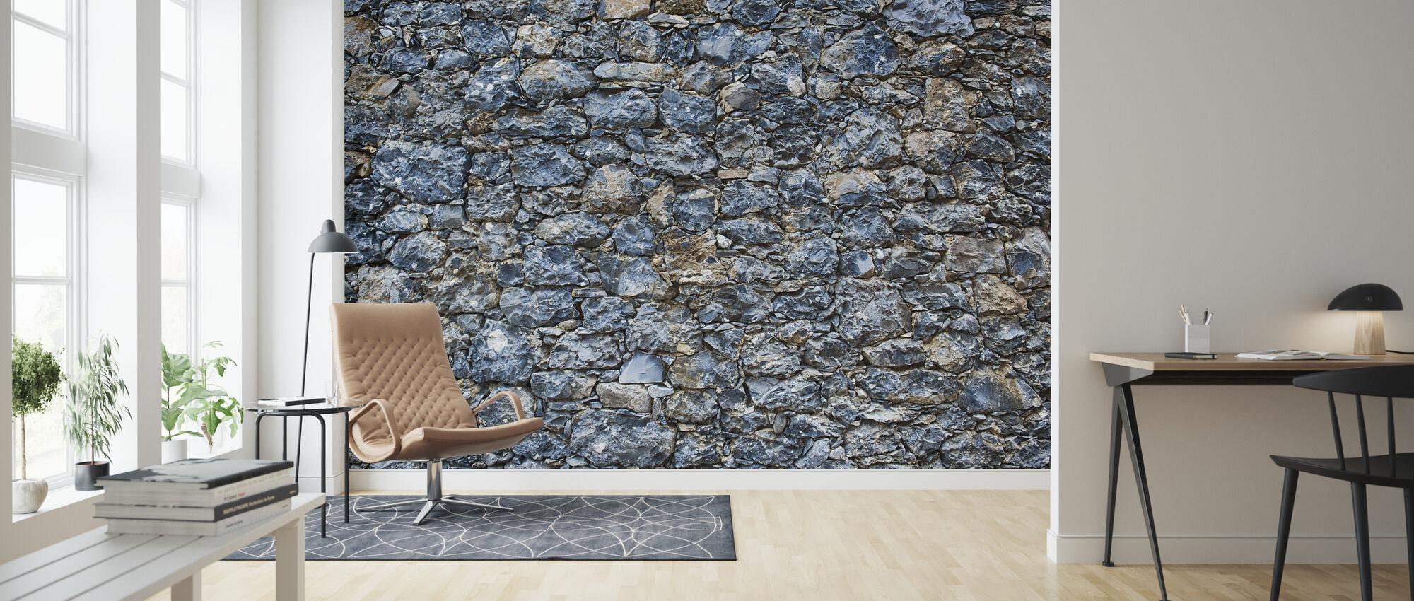 Blue Stone Wall - Wallpaper - Living Room