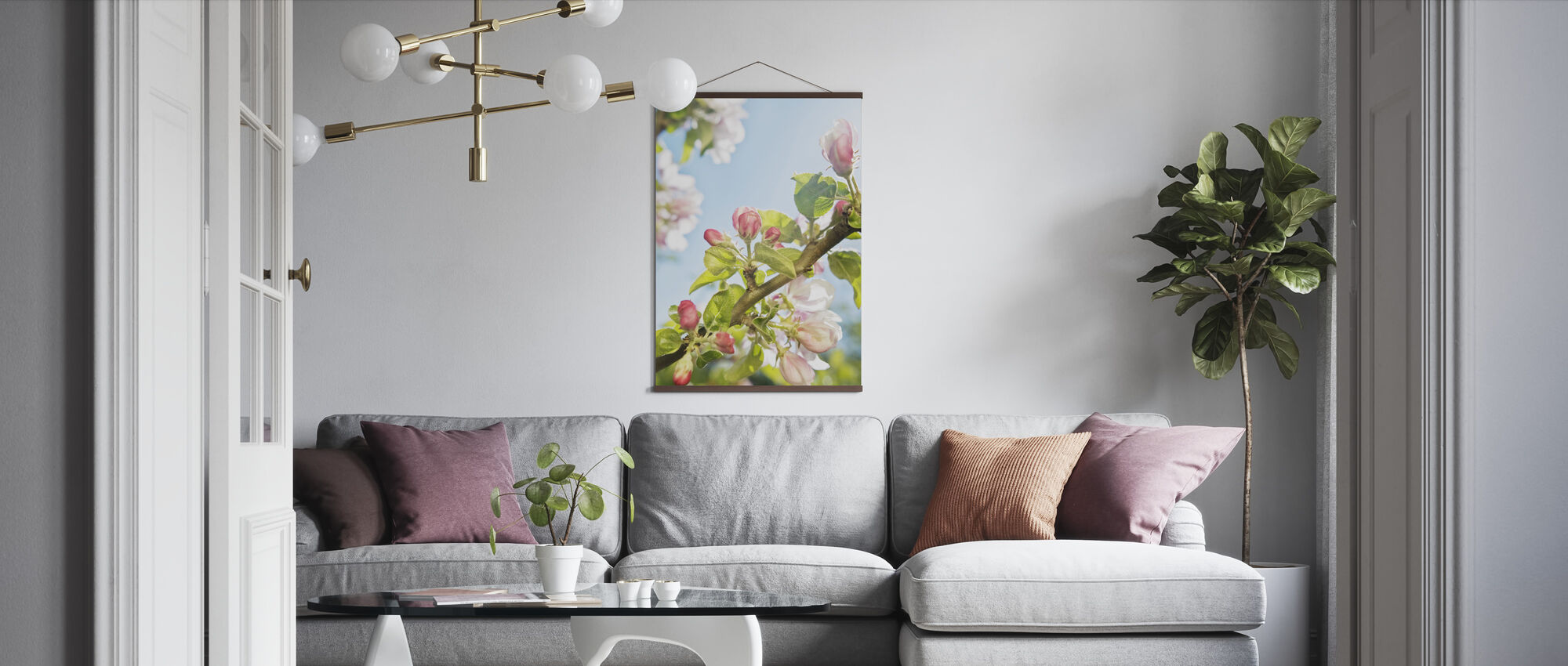 Green Cherry Blossom - Poster - Living Room