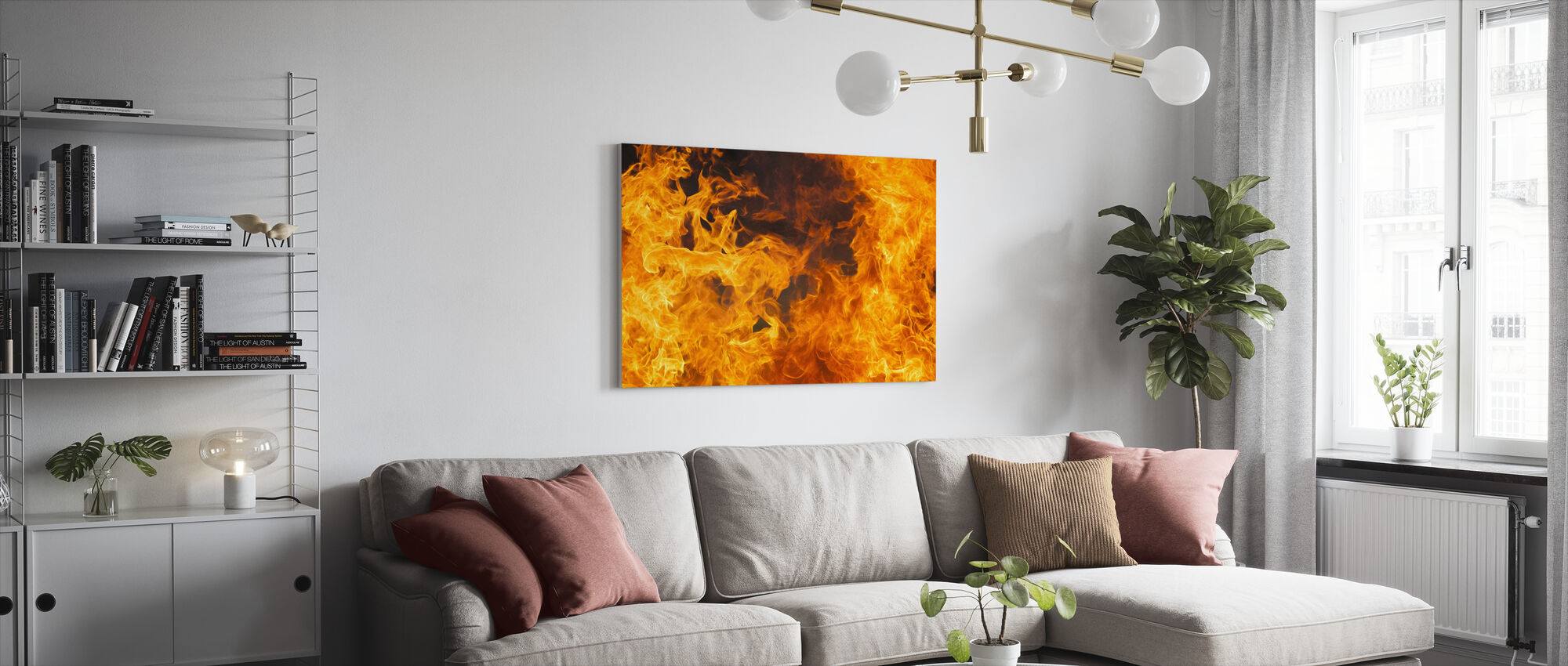 In vlammen - Canvas print - Woonkamer