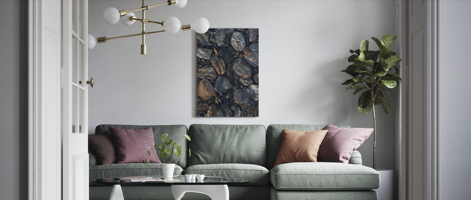Wet Stones - Canvas print - Living Room