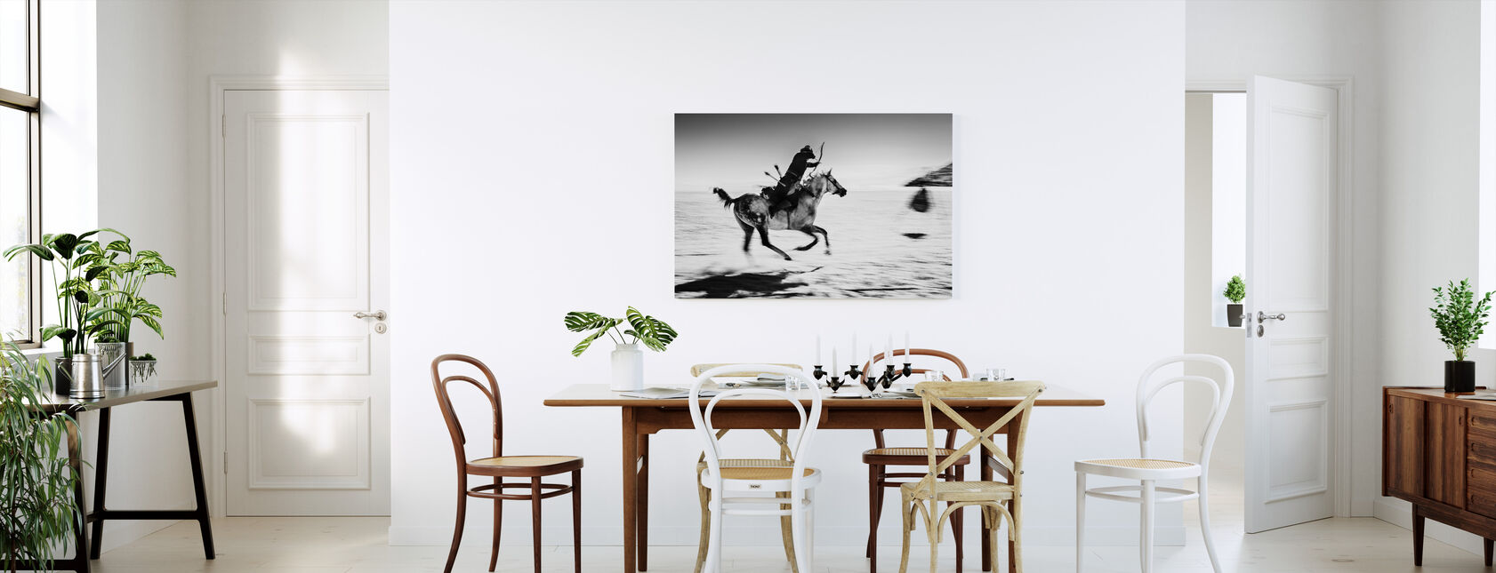 Galopping Horse and Bowman, black and white - Canvas print - Kitchen