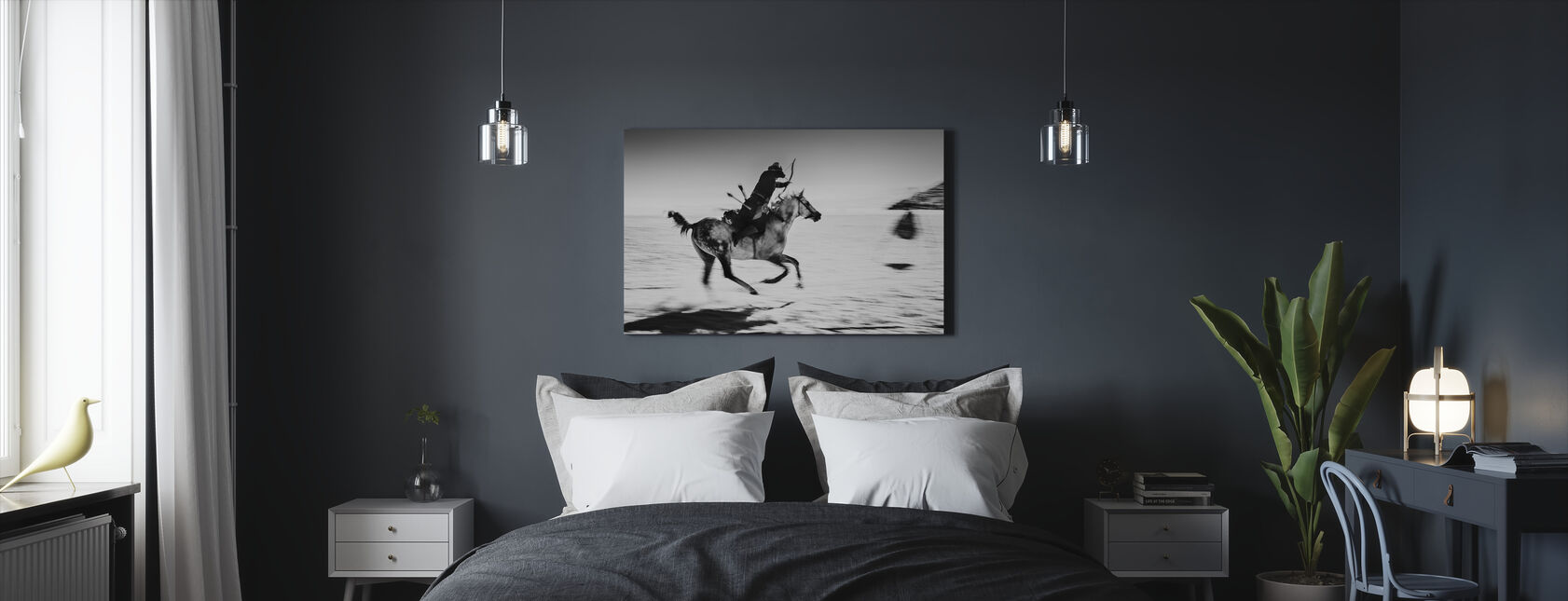 Galopping Pferd und Bowman, schwarz/weiß - Leinwandbild - Schlafzimmer