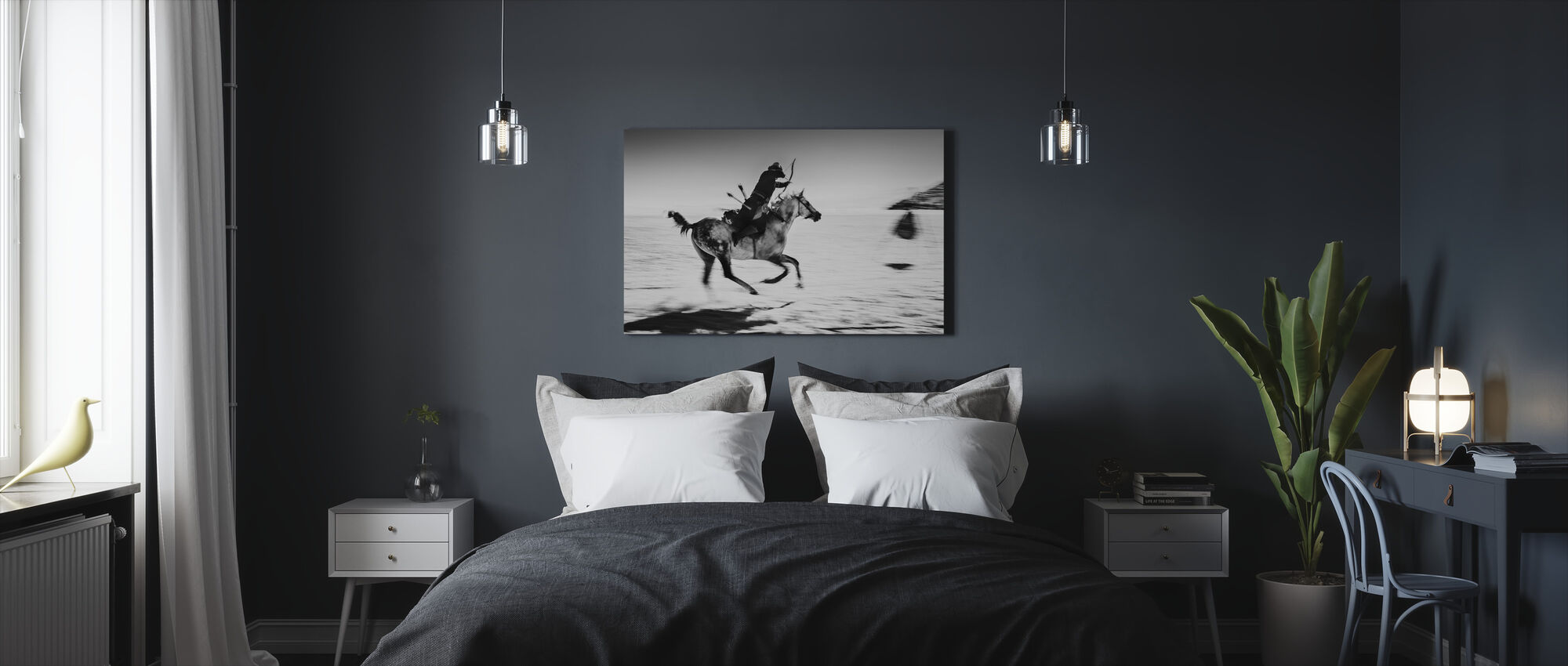 Galopping Horse and Bowman, black and white - Canvas print - Bedroom