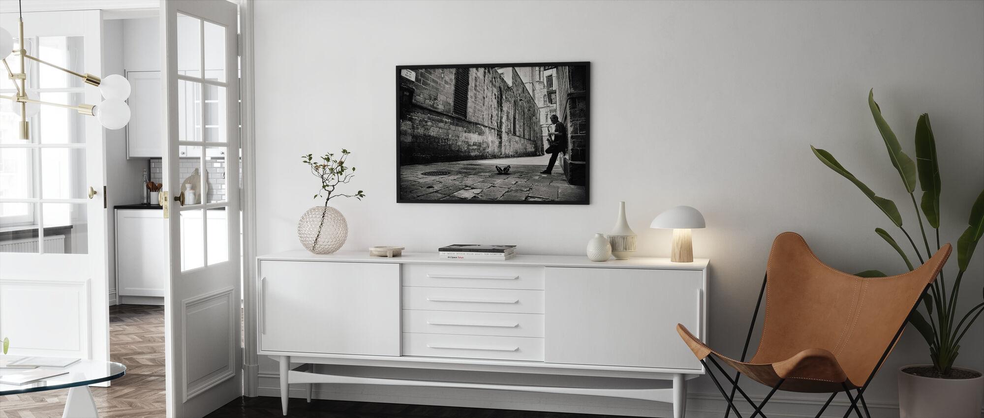 Silent Street, zwart-wit - Ingelijste print - Woonkamer
