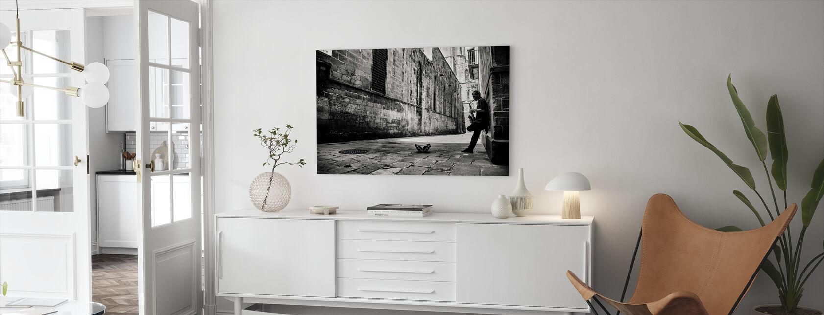 Silent Street, sort og hvid - Billede på lærred - Stue