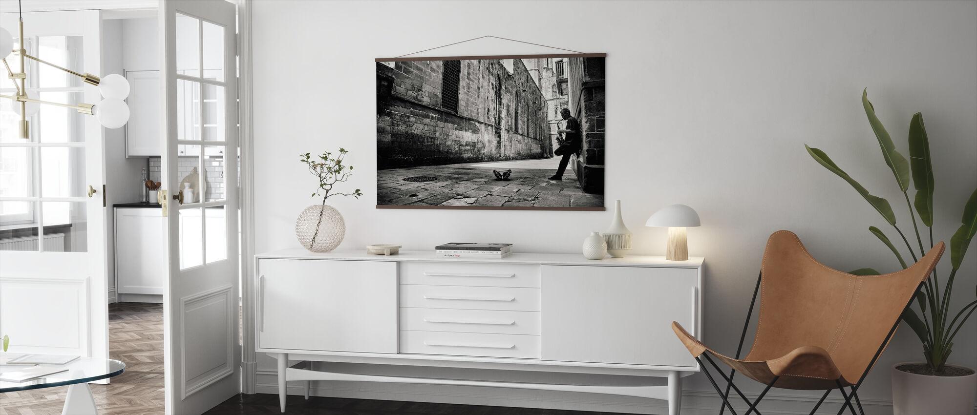 Silent Street, zwart-wit - Poster - Woonkamer