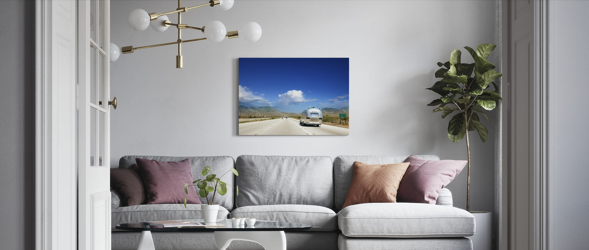 Caravan in Nevada, USA - Canvas print - Living Room
