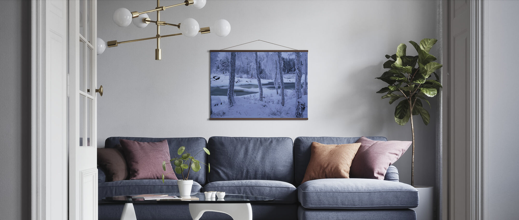 Kengisforsen in Winter Dress - Poster - Living Room