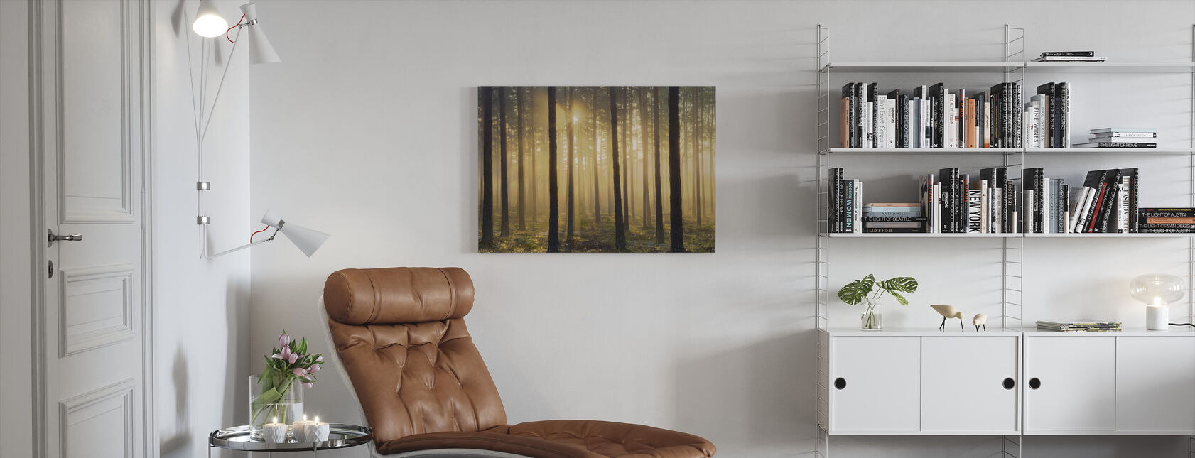 Pine Tree Morning - Canvas print - Living Room