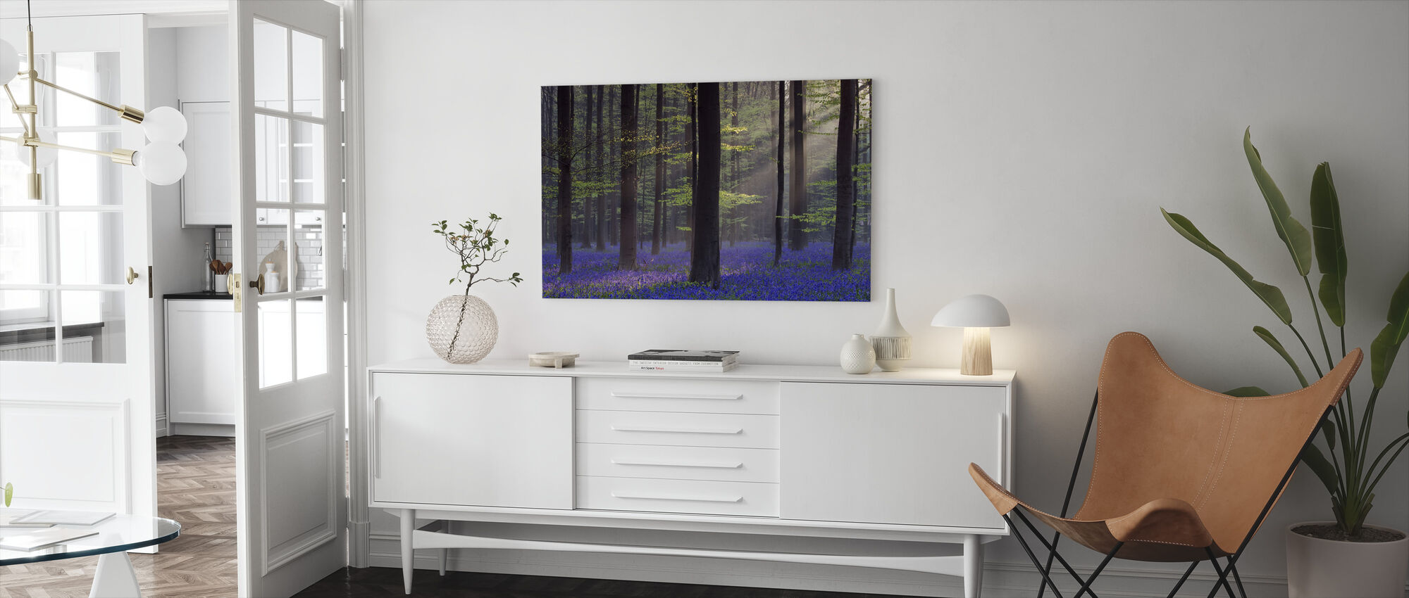 Bluebells in Dawn Sunlight - Canvas print - Living Room