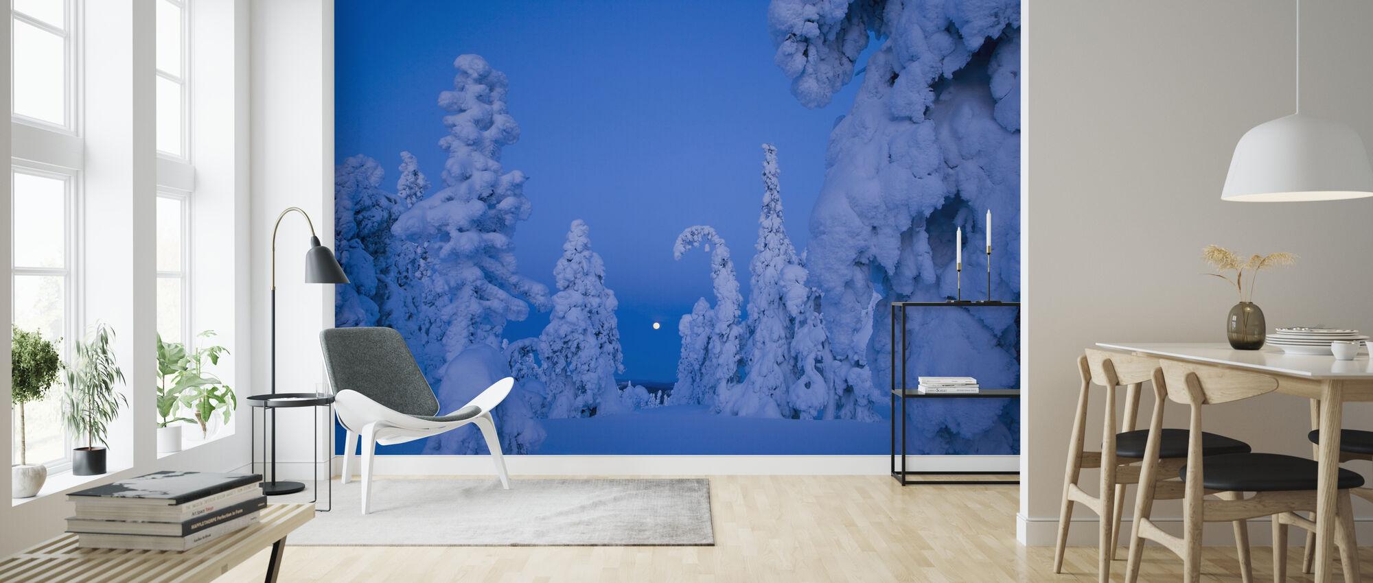 Sneeuw beladen Taiga Bos - Behang - Woonkamer