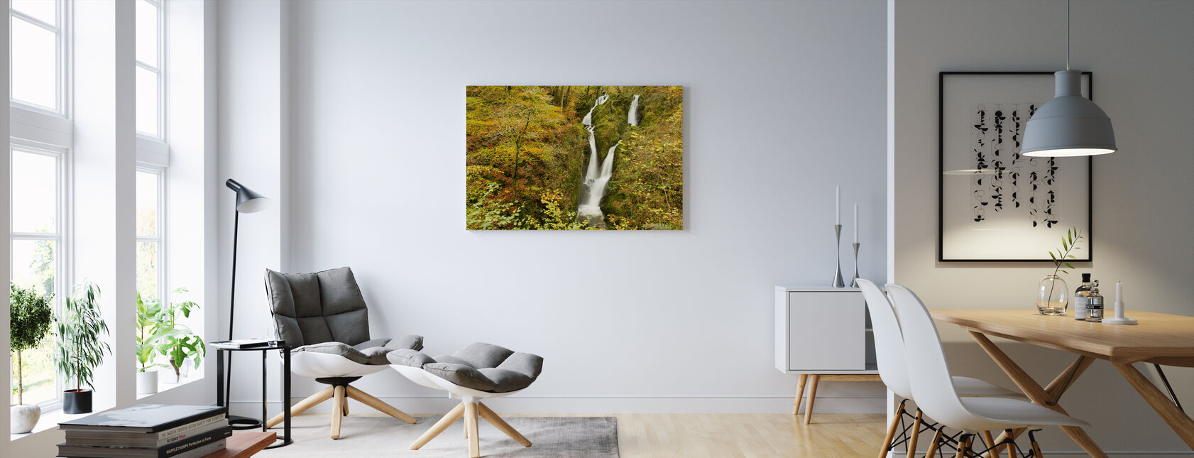 Stock Ghyll Waterfall in Autumn - Canvas print - Living Room