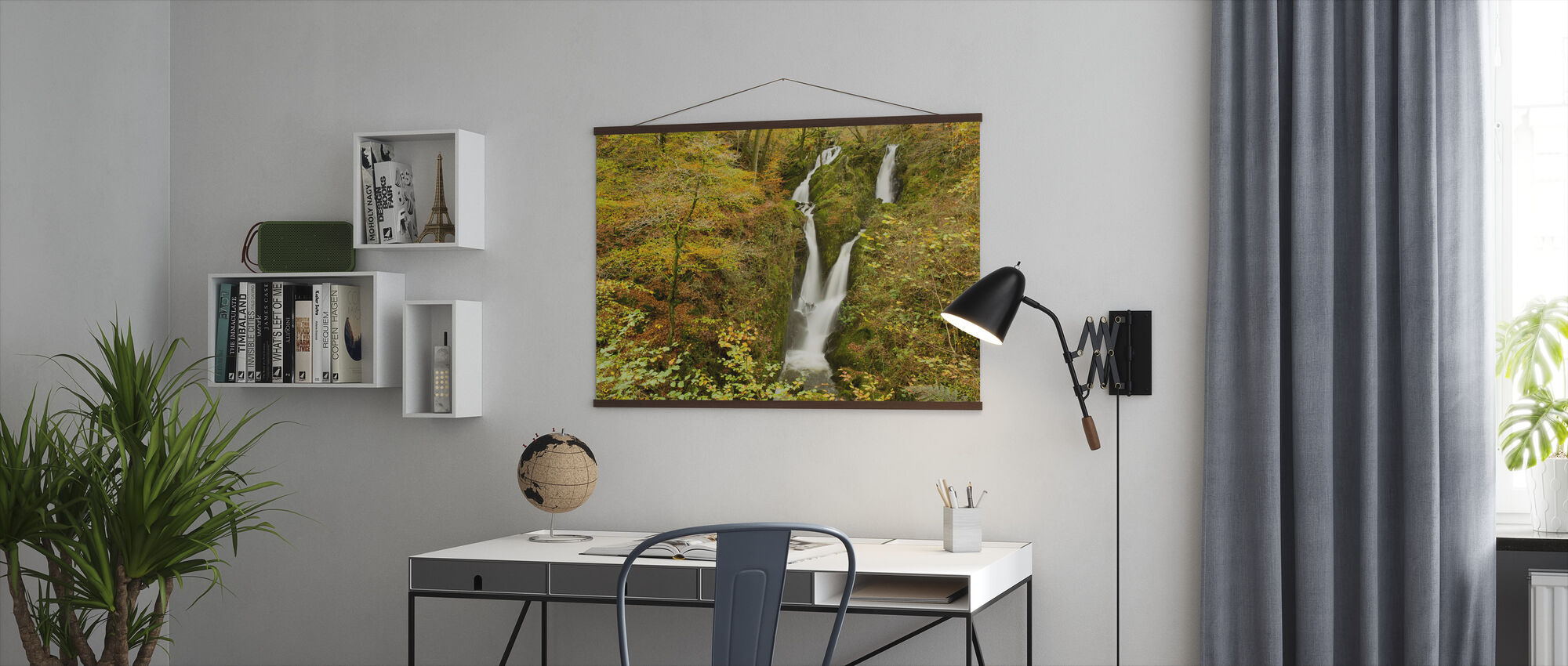 Stock Ghyll Waterfall in Autumn - Poster - Office