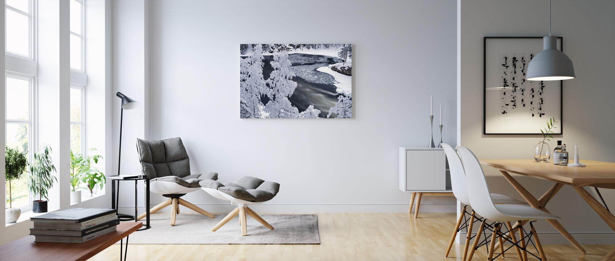 Talvimaisema metsän kanssa - Canvastaulu - Olohuone