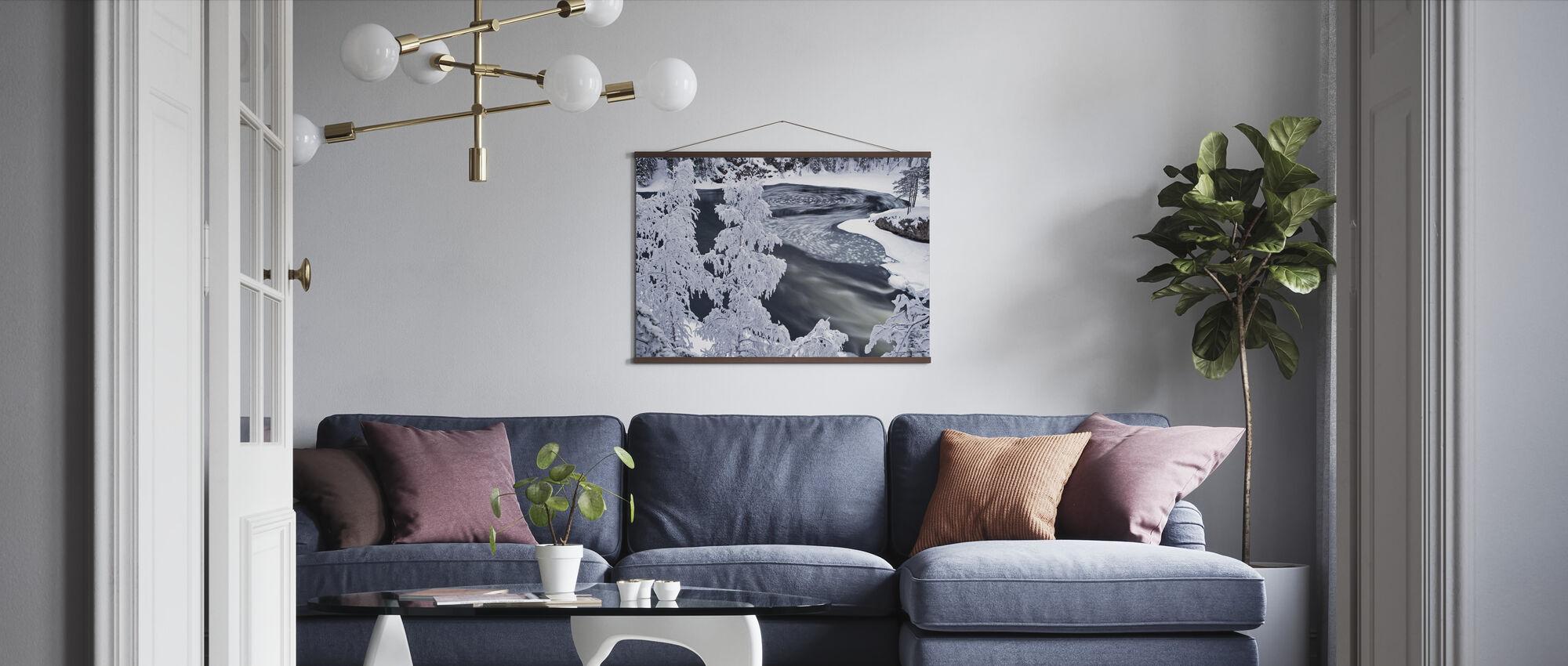 Winterlandschap met bos - Poster - Woonkamer