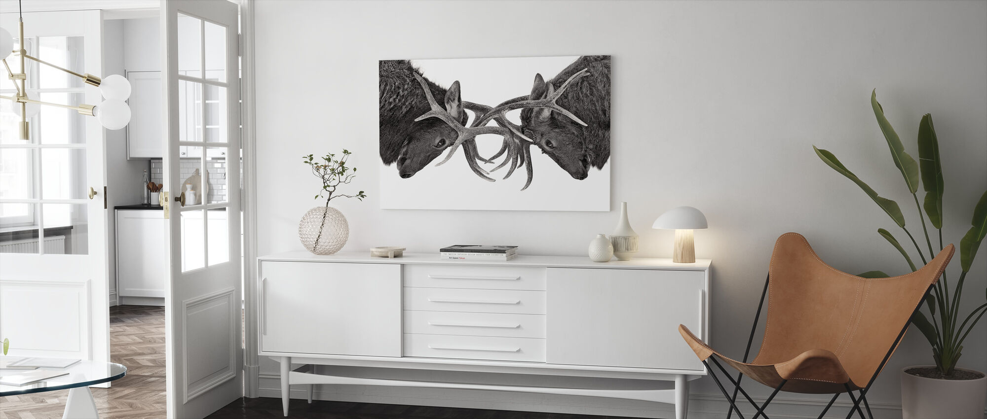 Eye to Eye - Lutte contre les élans, noir et blanc - Impression sur toile - Salle à manger