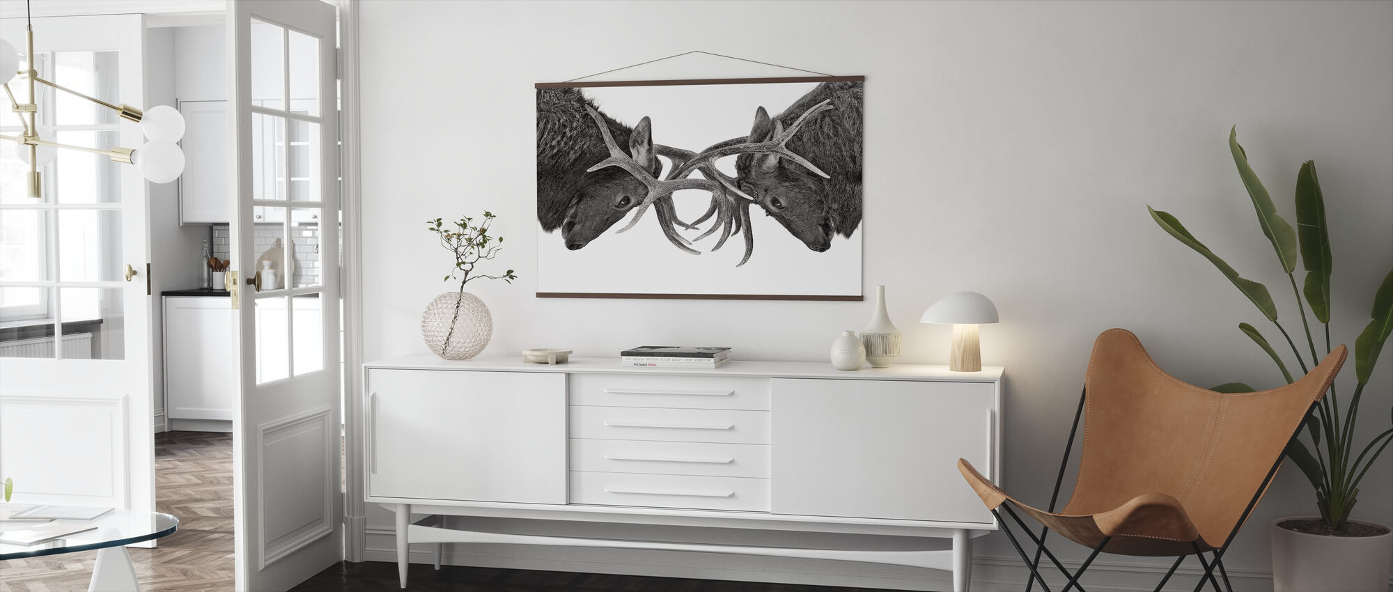 Eye to Eye - Elk fight, black and white - Poster - Living Room