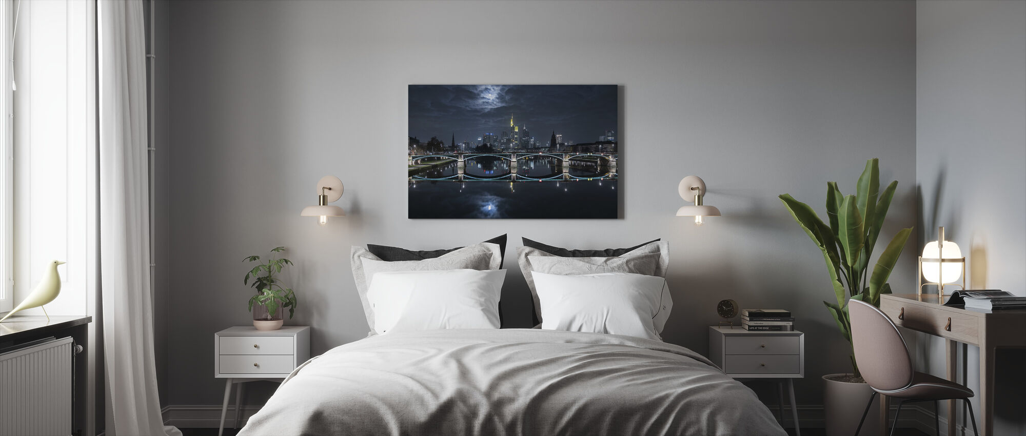 Frankfurt at Full Moon - Canvas print - Bedroom