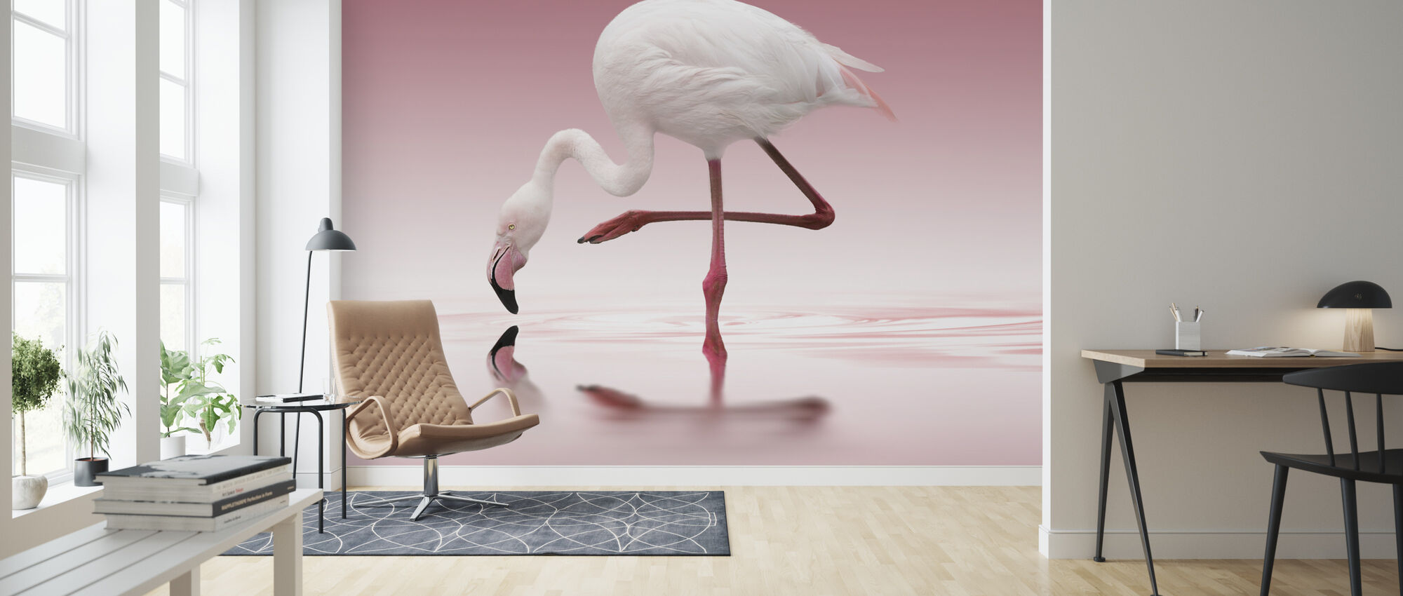Roze Flamingo - Behang - Woonkamer