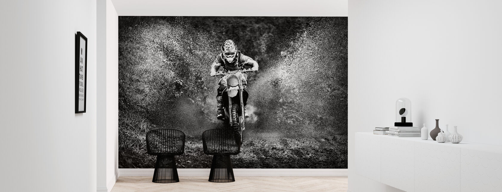 Spray Mud Motorcycle, black and white - Wallpaper - Hallway