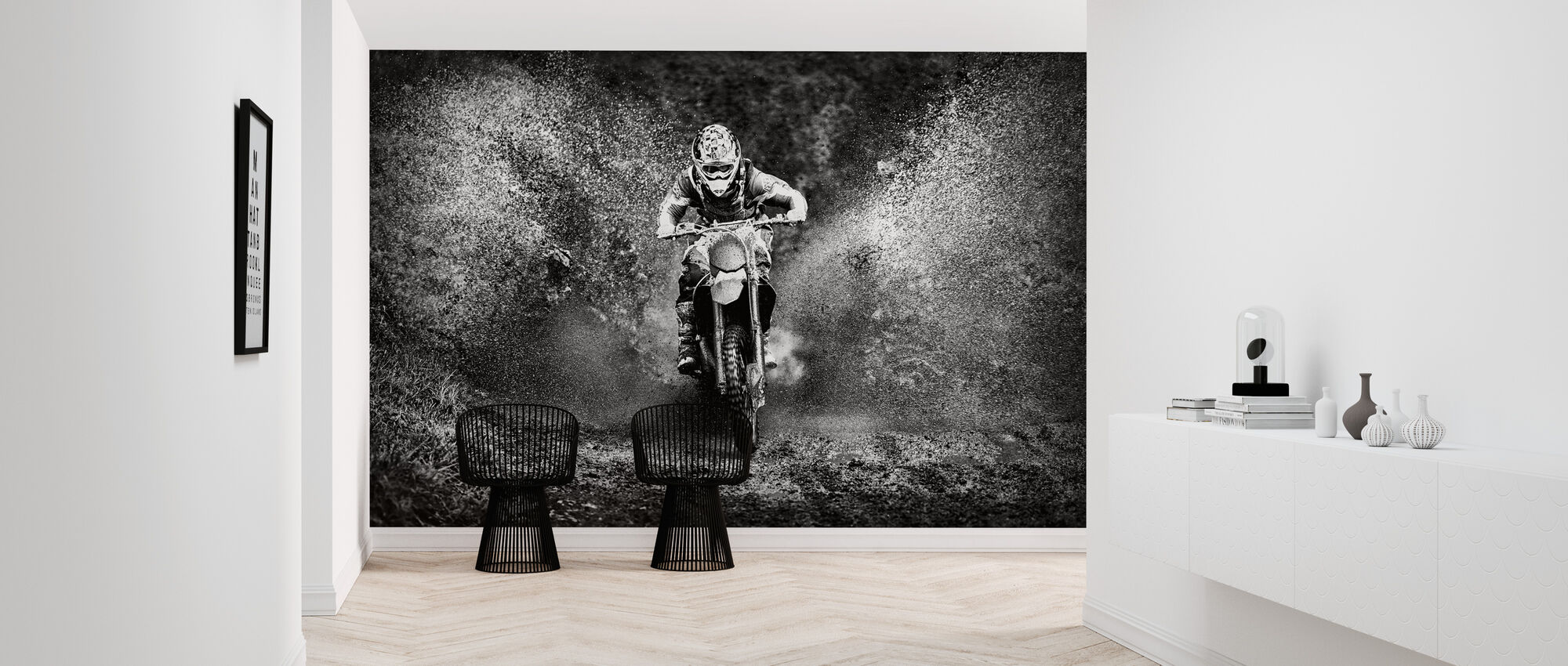 Spray Mud Motorfiets, zwart en wit - Behang - Gang