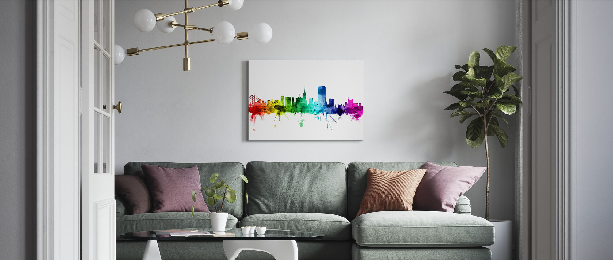 San Francisco Skyline Rainbow - Canvas print - Living Room