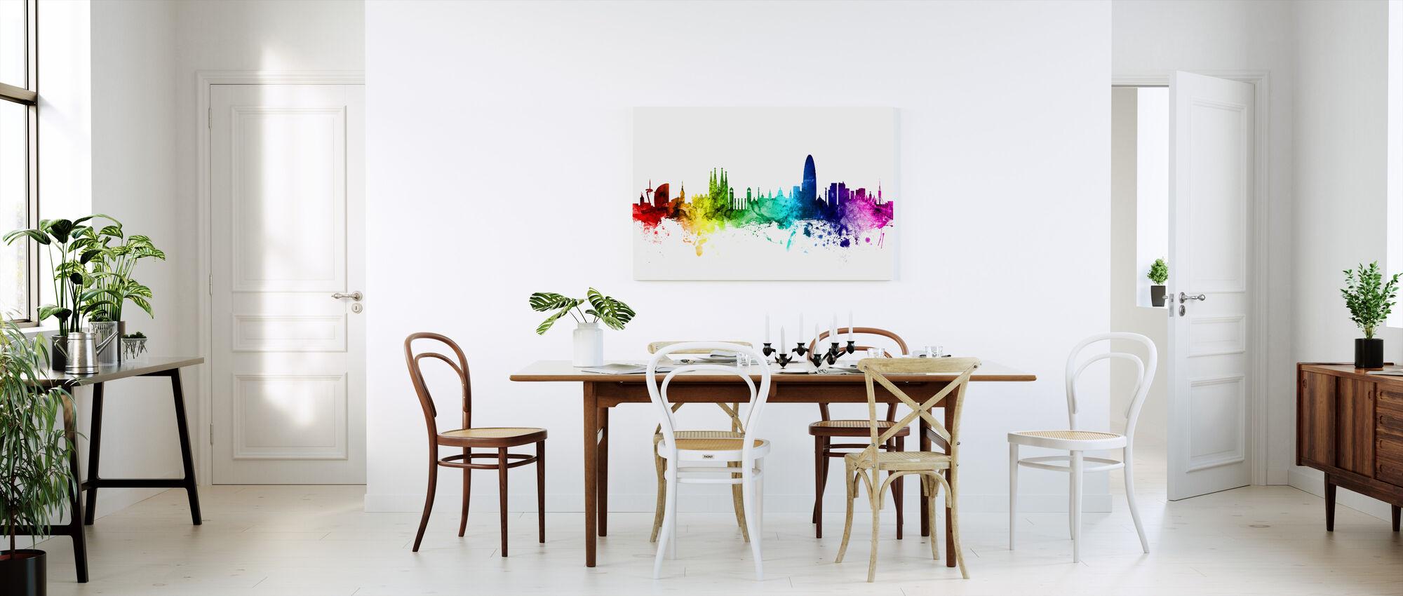 Barcelona Skyline regnbue - Billede på lærred - Køkken