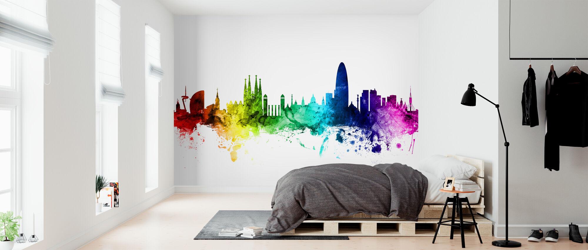 Barcelona Skyline Rainbow - Wallpaper - Bedroom