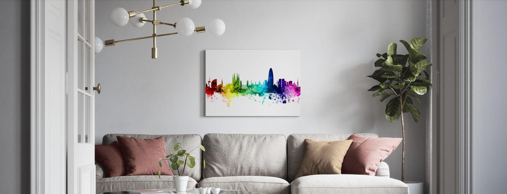 Barcelona Skyline Rainbow - Lienzo - Salón