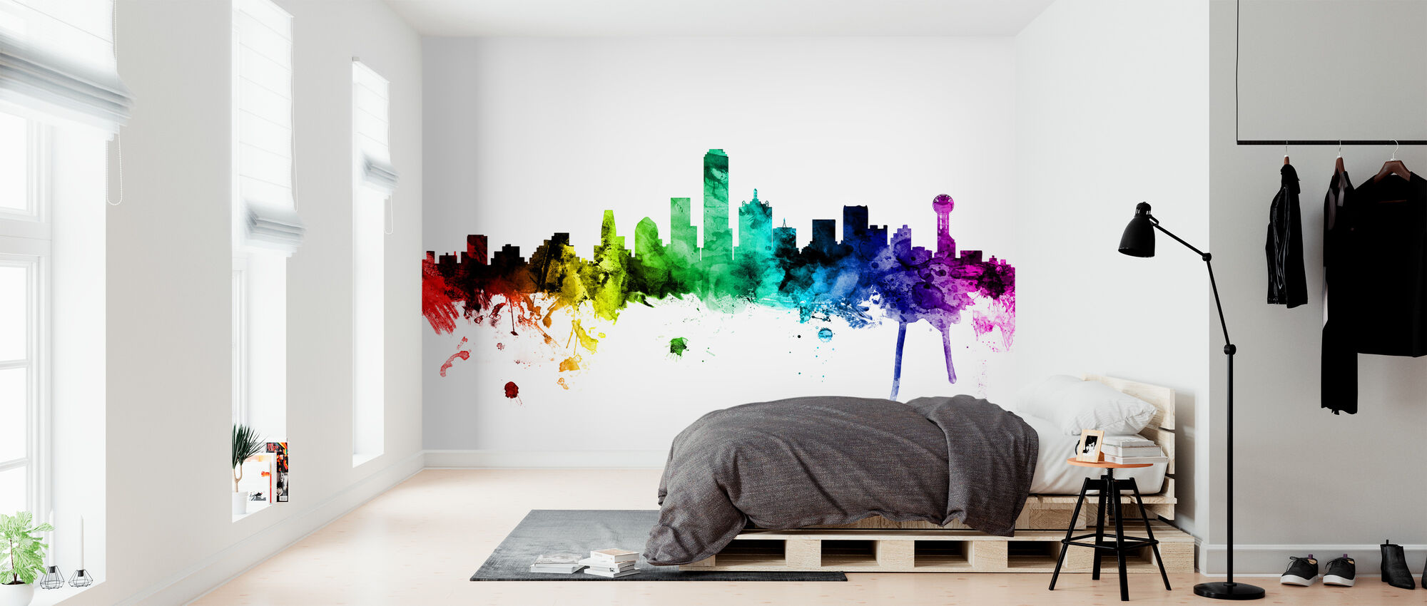 Dallas Texas Skyline Rainbow - Wallpaper - Bedroom