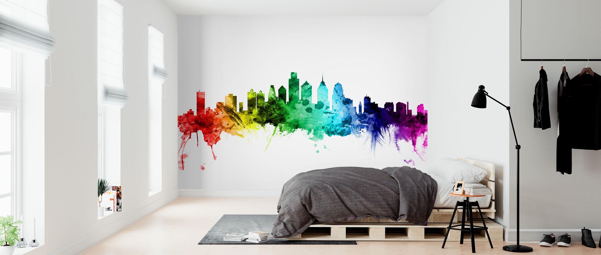 Philadelphia Pennsylvania Skyline Rainbow - Wallpaper - Bedroom