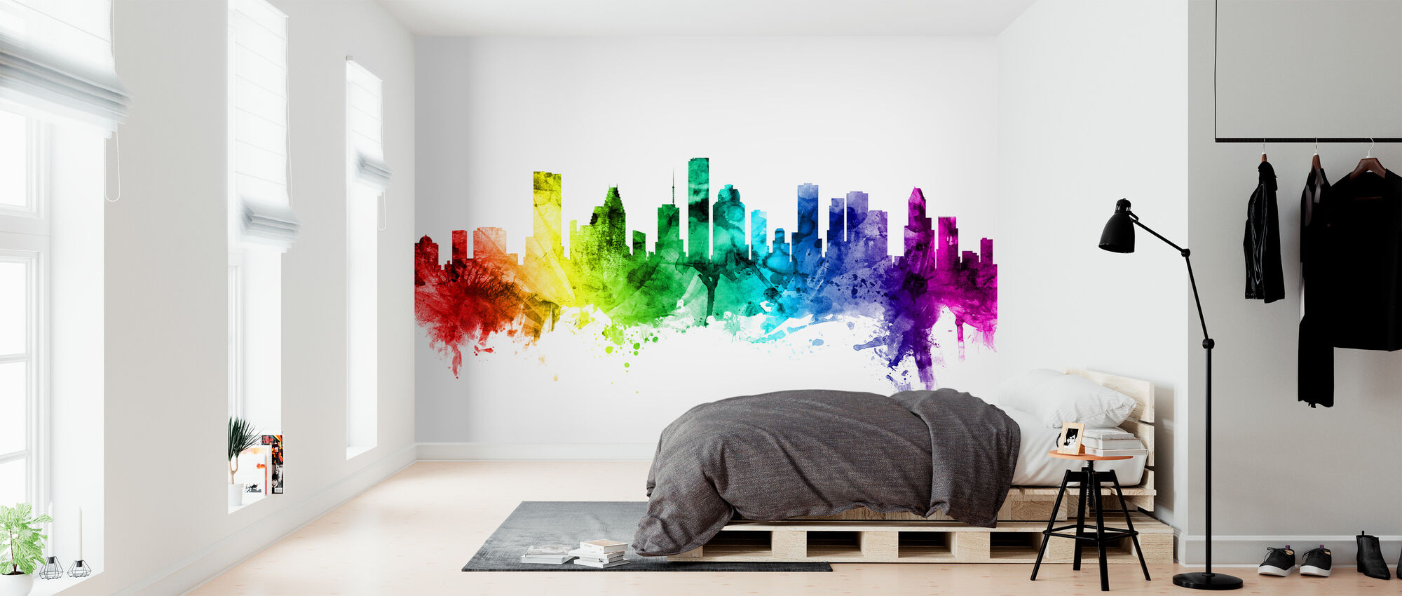 Houston Texas Skyline Rainbow - Wallpaper - Bedroom