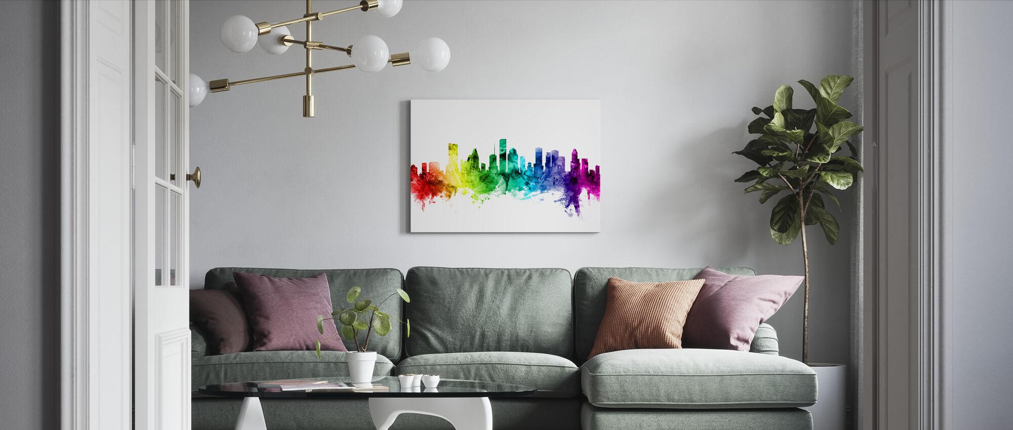 Houston Texas Skyline Rainbow - Canvas print - Living Room