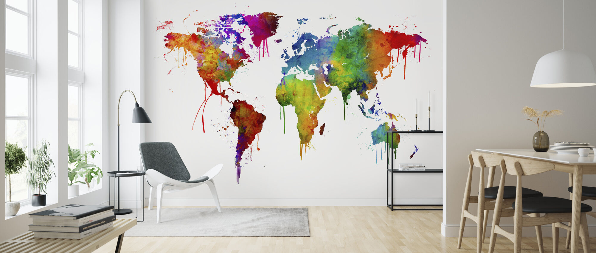 Watercolour World Map - Wallpaper - Living Room