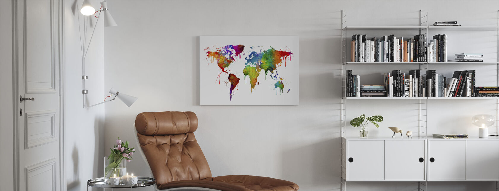 Watercolour World Map - Canvas print - Living Room