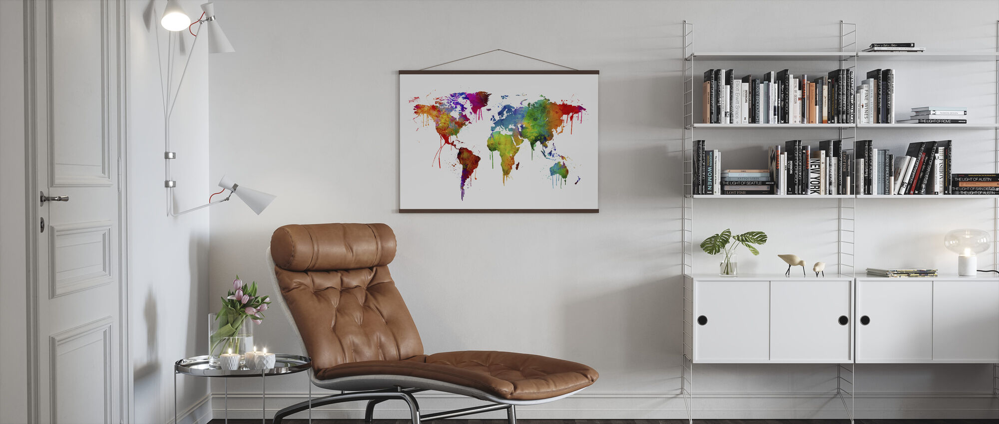 Watercolour World Map - Poster - Living Room