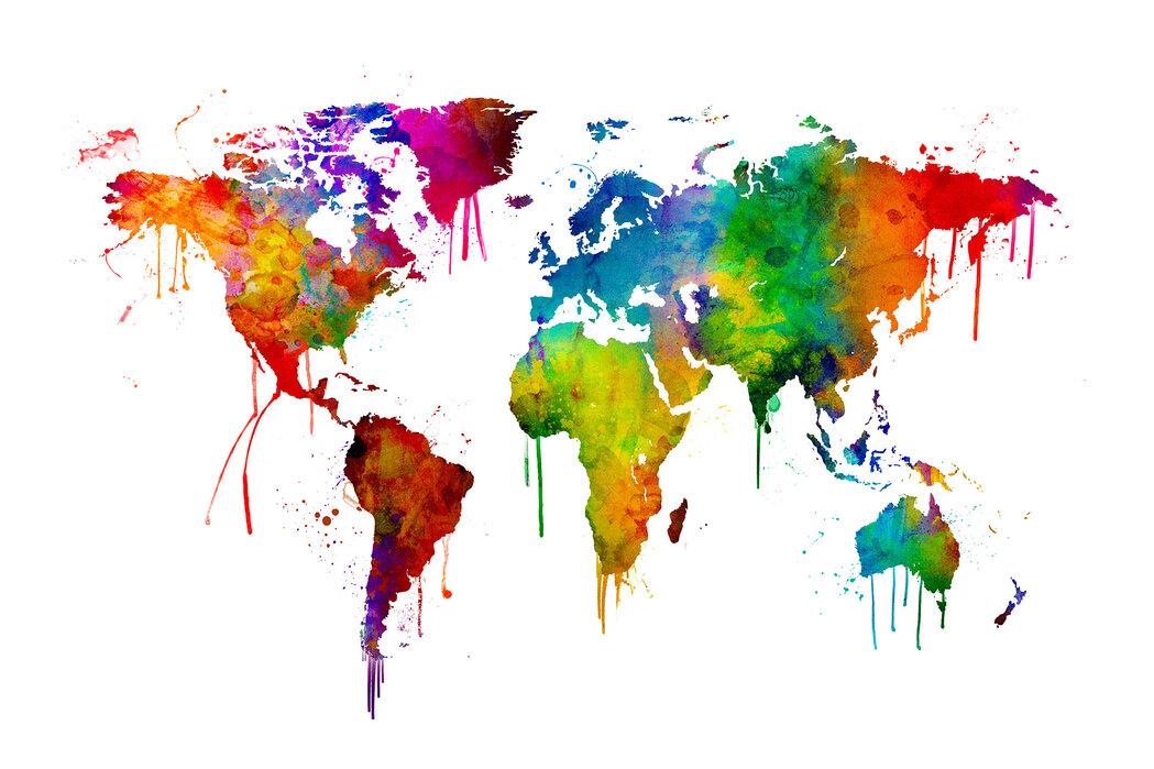 Watercolour World Map Affordable Wall Mural Photowall