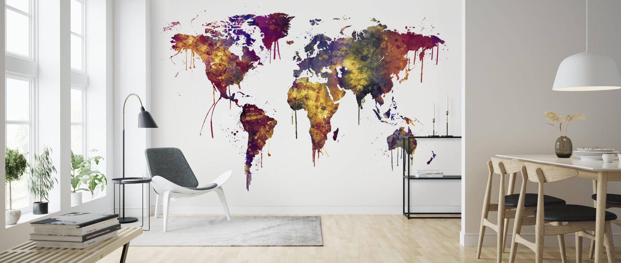 Aquarel Wereld Kaart 2 - Behang - Woonkamer