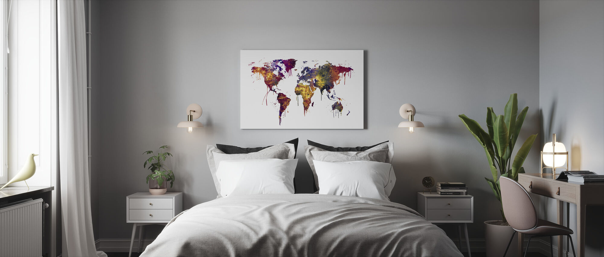 Watercolor World Map 2 - Canvas print - Bedroom