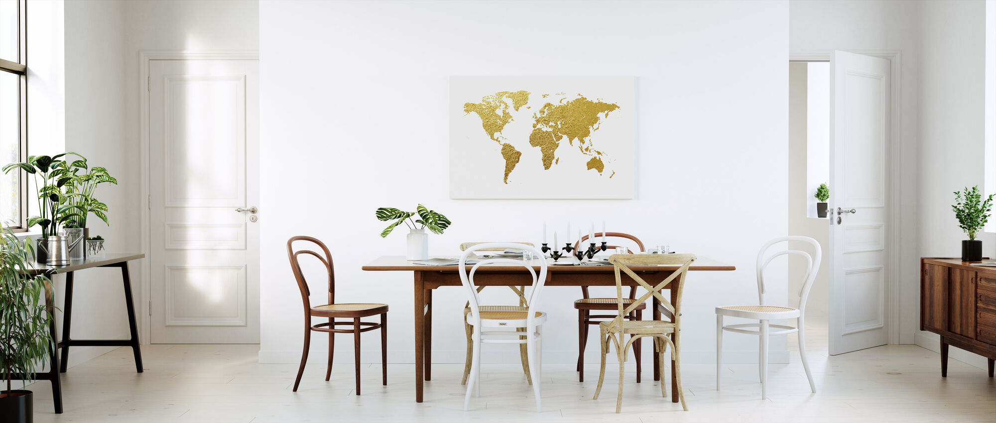 Carte du monde Gold - Impression sur toile - Cuisine