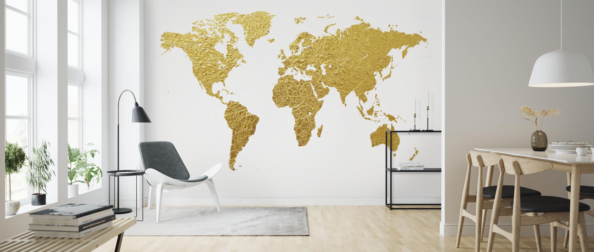 Verdenskort Gold - Tapet - Stue
