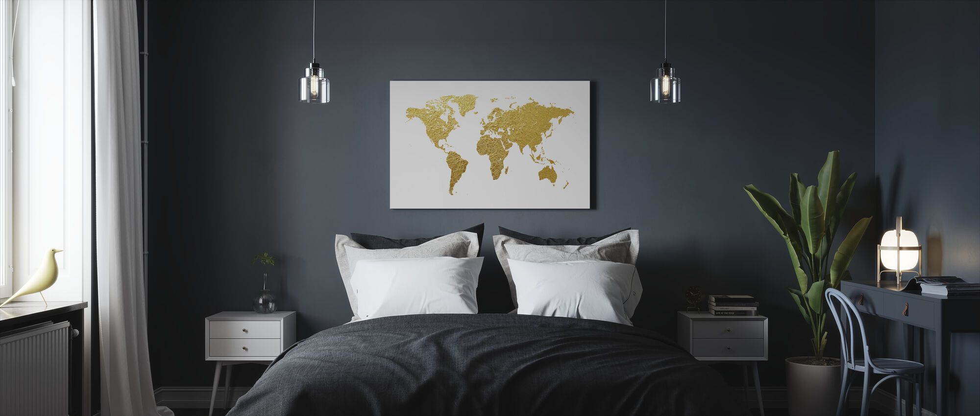 World Map Gold - Canvas print - Bedroom